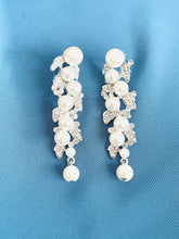 Load image into Gallery viewer, LUCINDA - Crystal And Multi-Size Pearl Wrap Dangle Earrings In Silver