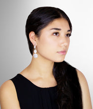 Load image into Gallery viewer, NAOMI - Clear Double Crystal Scalloped-Edged Drop Earrings In Silver - JohnnyB Jewelry