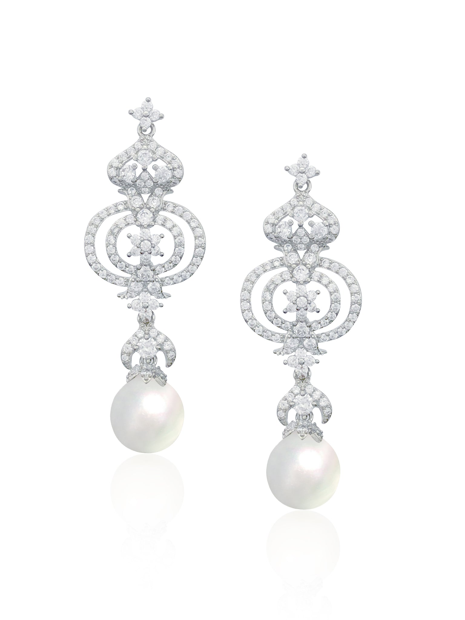 Regal Cubic Zirconia Earrings In Silver | JohnnyB Jewelry
