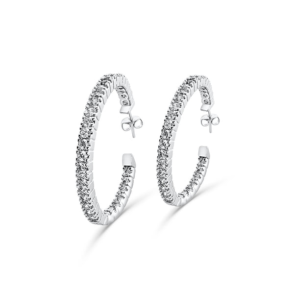 Classic Cubic Zirconia Hoops Earrings In Silver | JohnnyB Jewelry