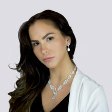 Load image into Gallery viewer, KAROLINA - Multi-Shaped CZ With Drop Pendant Necklace In Silver - JohnnyB Jewelry