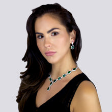 "Load image into Gallery viewer, TZIPPORAH - 16"" Glamorous Emerald Green CZ With Two-Teardrop Necklace In Silver - JohnnyB Jewelry"