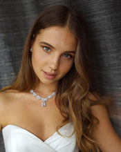 "Load image into Gallery viewer, MARIANNA - 16"" Embellished CZ Necklace With Teardrop Pendant And Matching Drop Earrings In Silver - JohnnyB Jewelry"