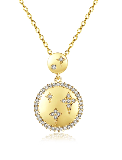 ANN - CZ Pave Star Circle Disc Necklace In 14k Gold