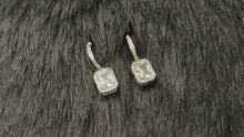 Load and play video in Gallery viewer, MADISON - Tiny Round Pave CZ With Rectangular Crystal Drop Earrings In Silver