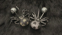 Load and play video in Gallery viewer, MARGEURITE - Black-Clear CZ Spider With Grey-Blue Pearl Brooch Pin In Black