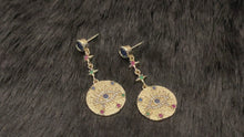 Load and play video in Gallery viewer, PHIONA - Multi-Colour CZ Disc Dangle Earrings In 14k Gold