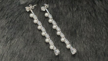 Load and play video in Gallery viewer, ALLURA - Delicate Slim Pearl and CZ Drop 2-Way Style Earrings In Silver