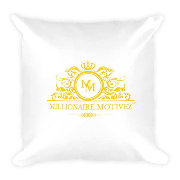 Millionaire Motivez Luxury Yellow Print Square Pillow