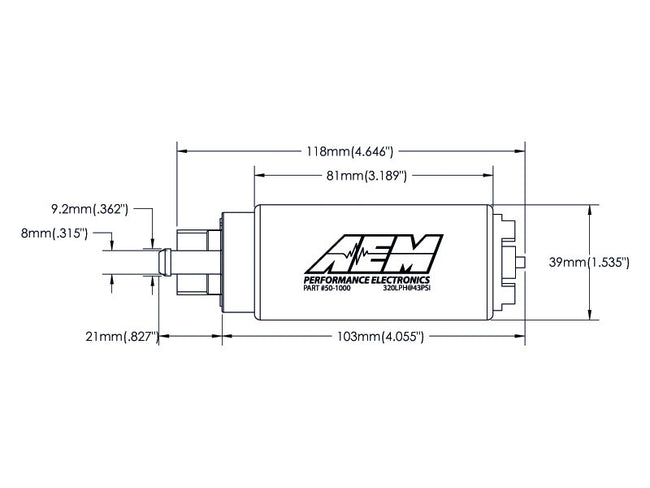 AEM 320L In Tank Fuel Pump Kit (Gasoline)