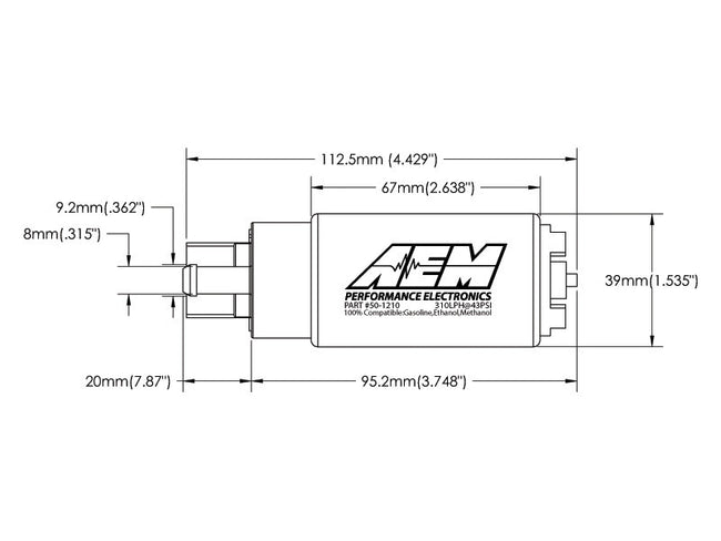 AEM 310LPH E85 High Flow In-Tank Fuel Pump (Offset Inlet)