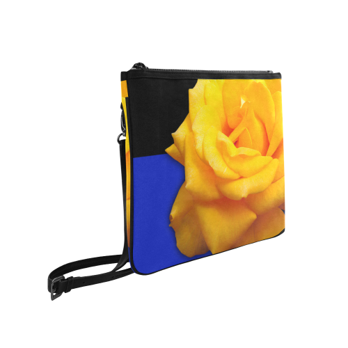 Yellow Tea Rose Clutch Bag with Strap