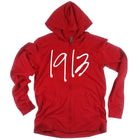 Red 1913 Light Weight Zip Front Hoodie