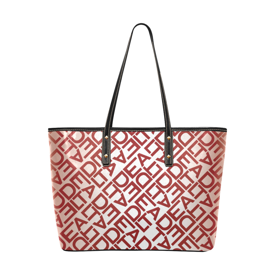 White Square Delta Leather Tote Bag