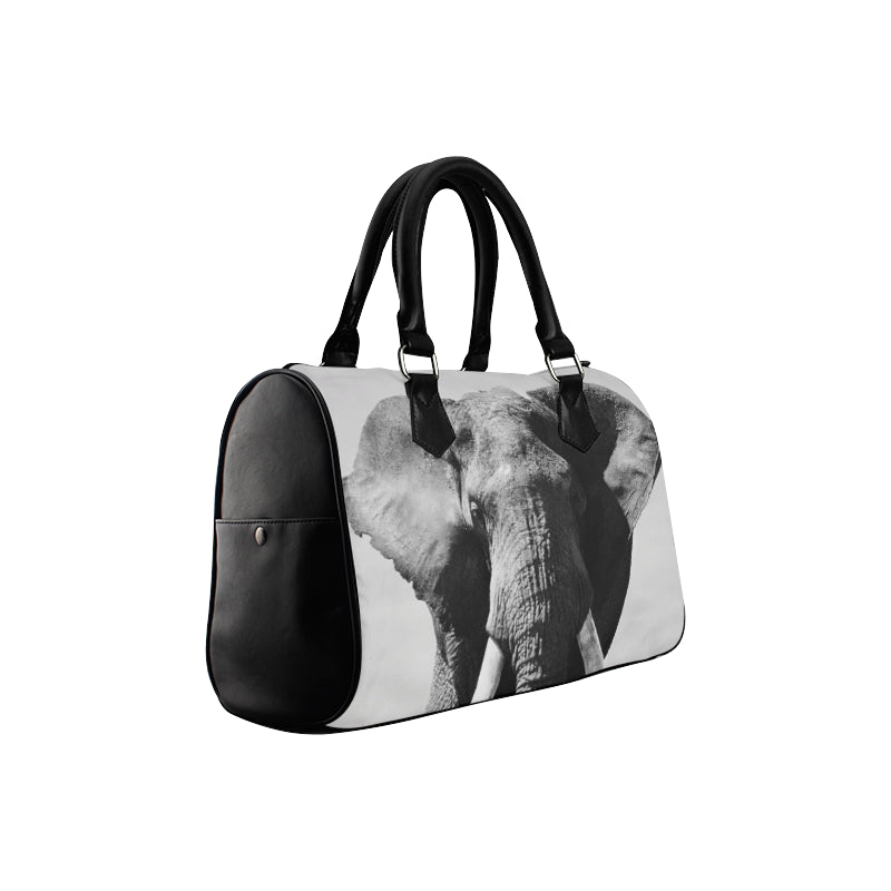 Black and White Elephant Boston Bag