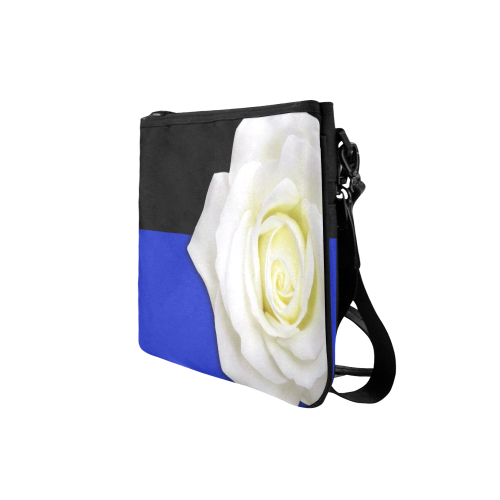 White Rose Clutch Bag with Strap
