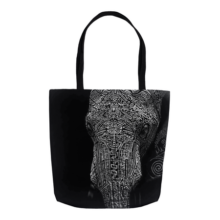 G Black Abstract Elephant Tote