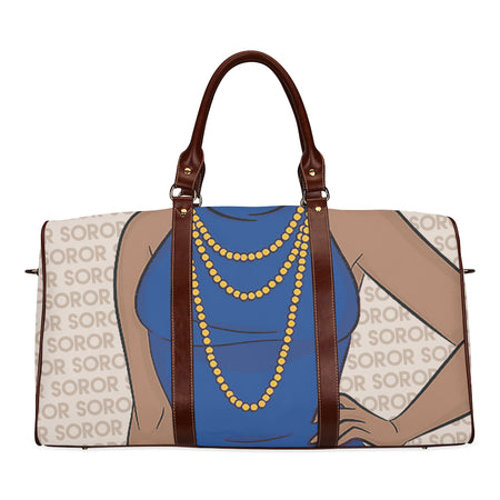 Blue and Gold Soror Waterproof Duffel Bag