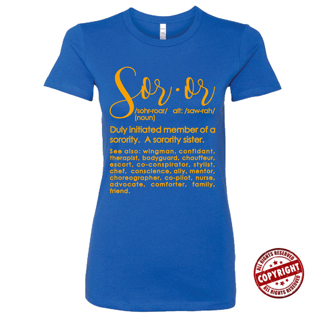 Short Sleeve Blue and Gold Short Sleeve Soror Definition Tee