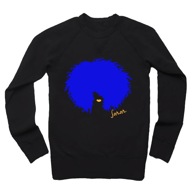 Blue and Gold Afro Soror French Terry Sweatshirt
