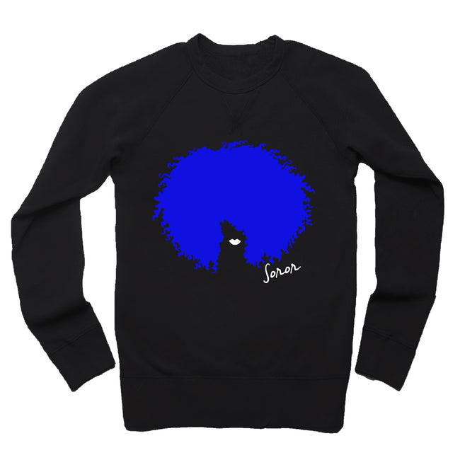 Royal Blue and White Afro Soror French Terry Sweatshirt