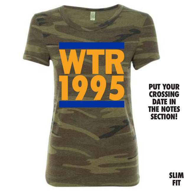Short Sleeve Camo Run Crossing Tee Blue and Gold