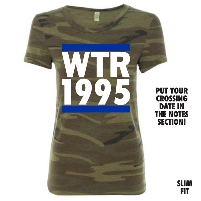 Short Sleeve Camo Run Crossing Tee Blue and White