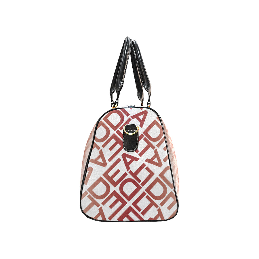 Square Delta White Red Duffel Bag