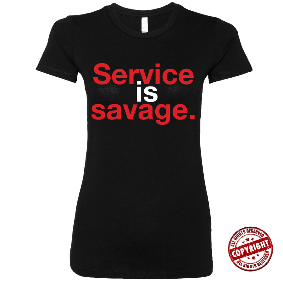 Short Sleeve Red and White Service is Savage Tee