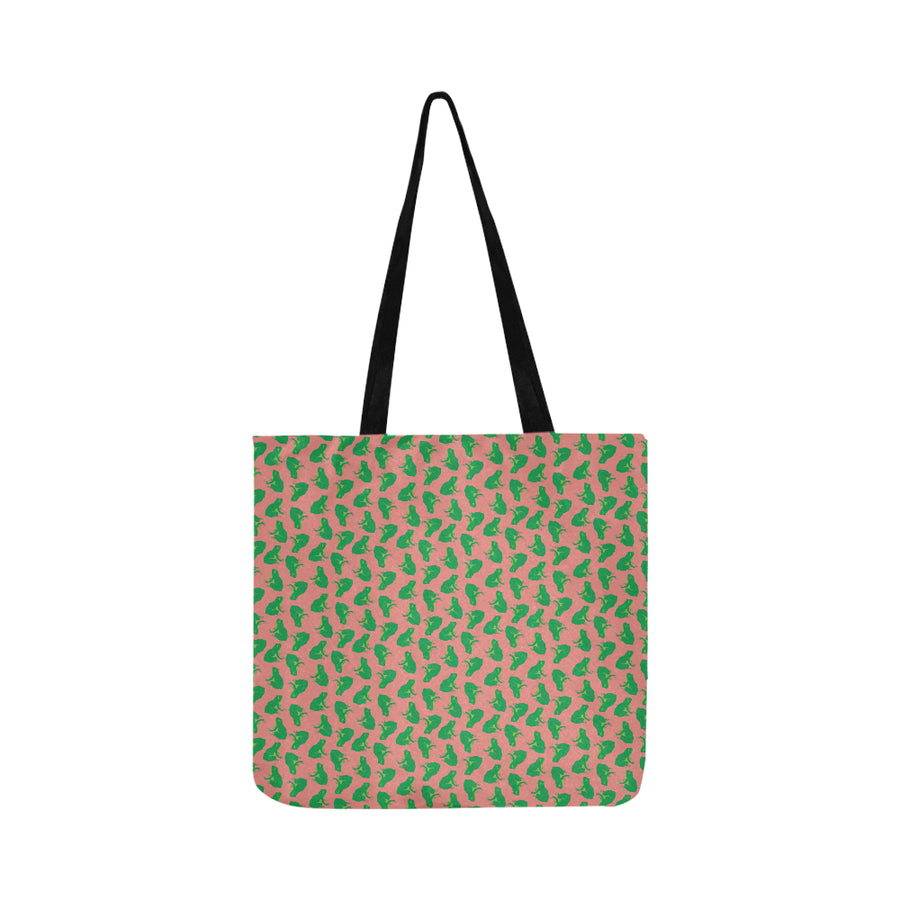 Pink Frog Print Reusable Shopping Bag