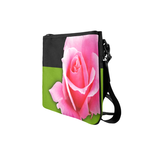 Pink Tea Rose Clutch Bag with Strap