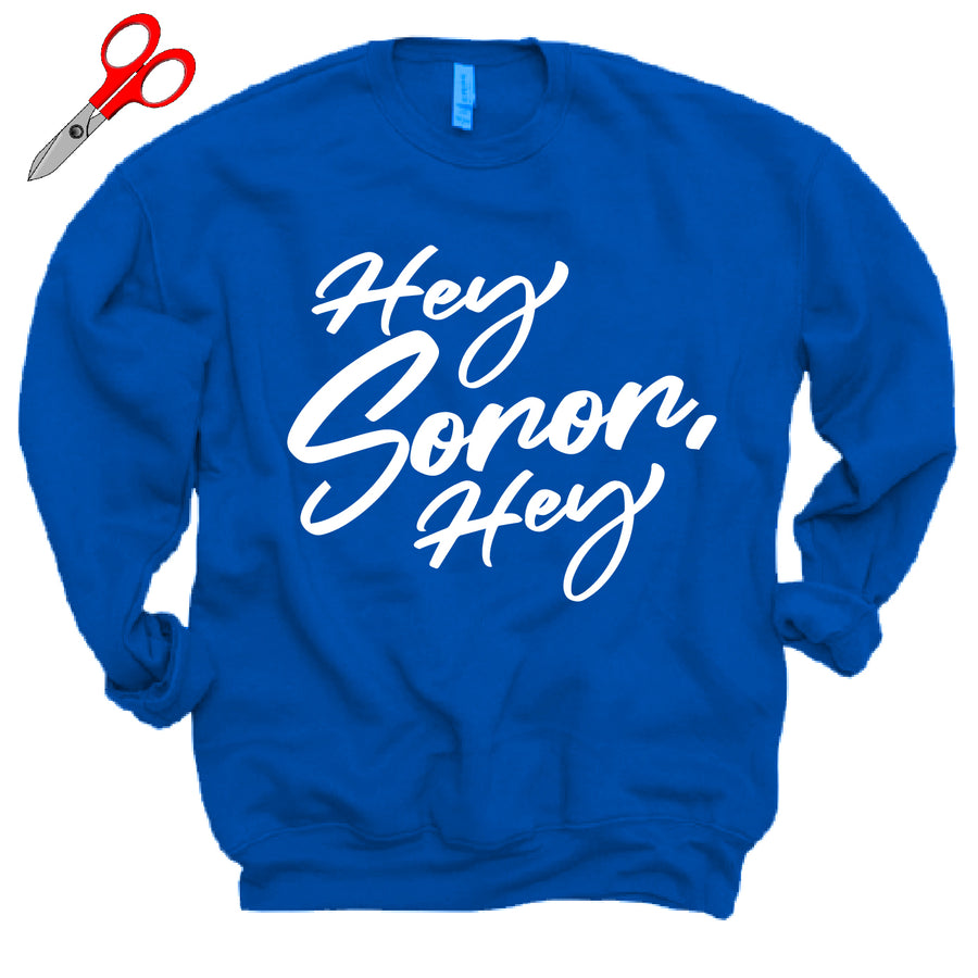 Blue and White Hey Soror Hey Fleece Sweatshirt