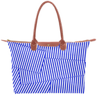 Blue and White Patch Stripe Hobo Tote