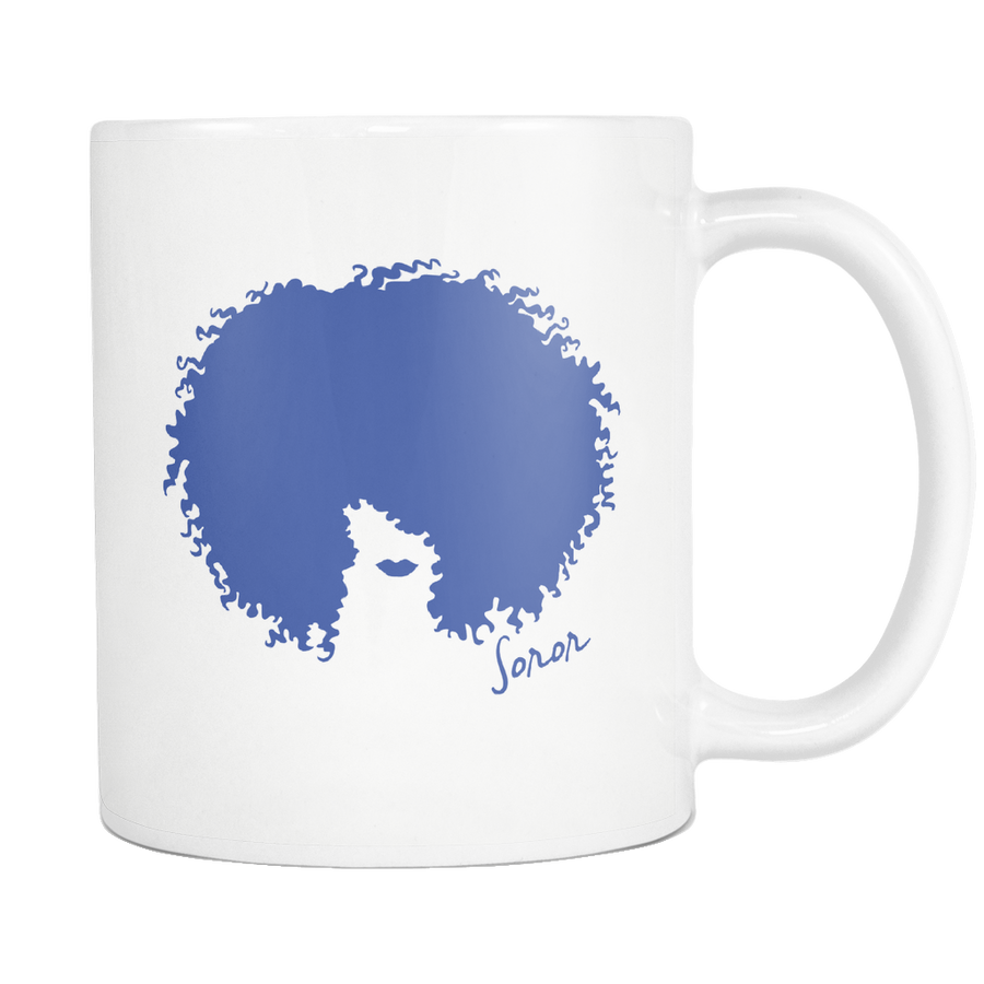 White Royal Blue Afro Soror Mug