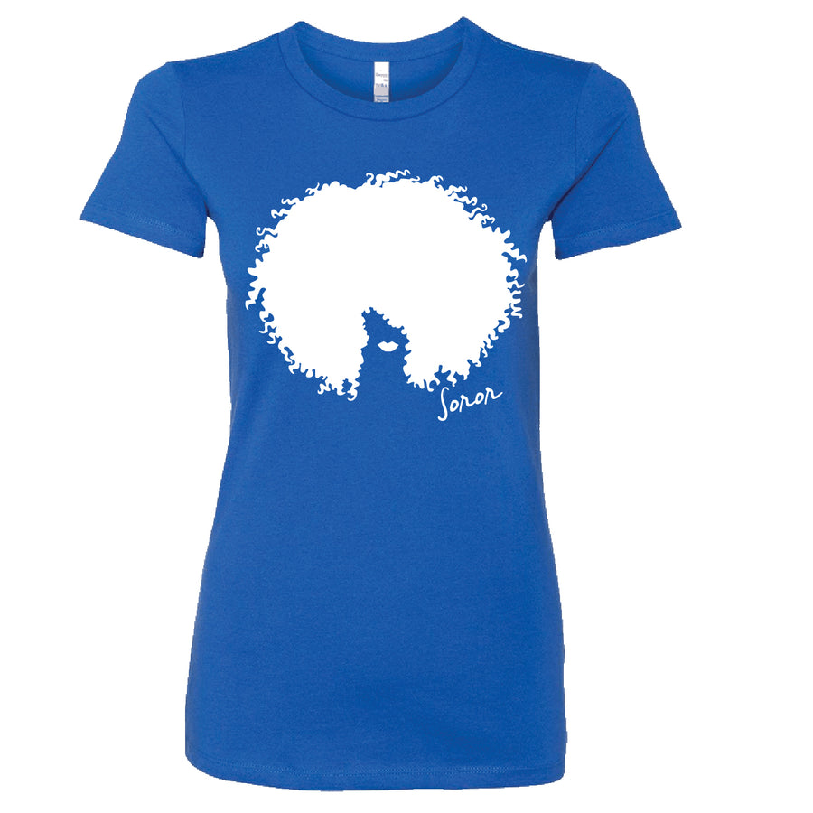 Blue and White Afro Soror Tee