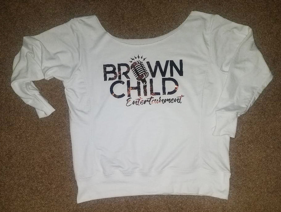 Custom Brown Child Ent  Raw Neck Sweatshirt