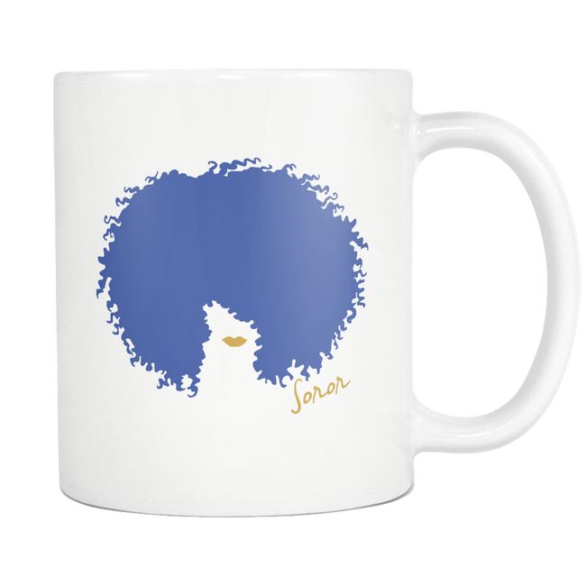 White Blue and Gold Afro Soror Mug