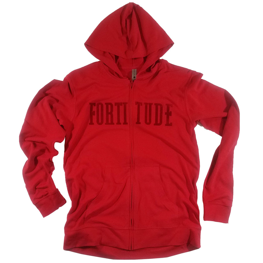 Red Fortitude Light Weight Zip Front Hoodie