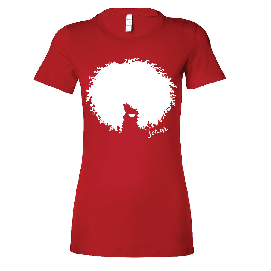 Red and White Afro Soror Tee