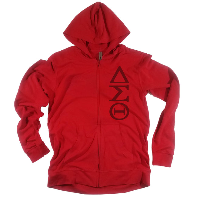Red Vertical DST Light Weight Zip Front Hoodie