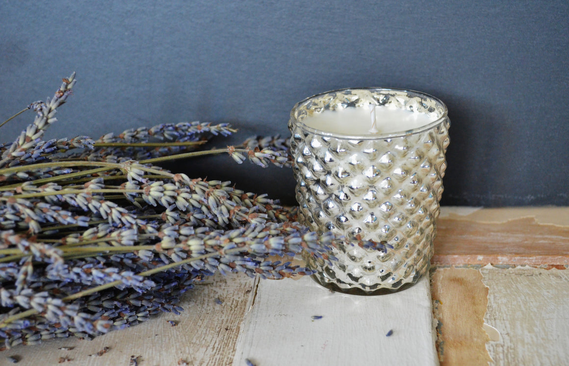 Silver Mercury Glass Quilted Candle