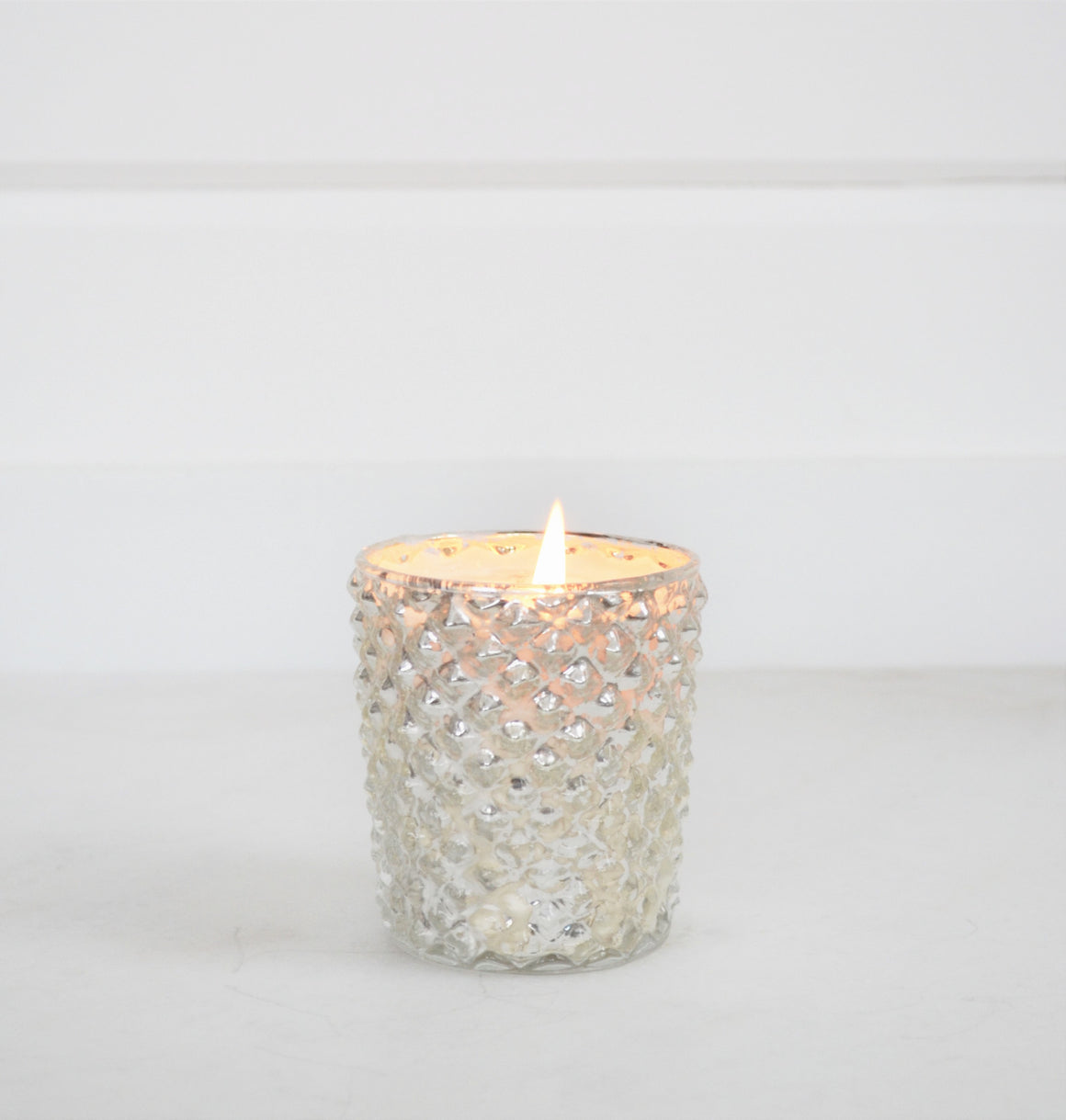 Silver Mercury Quilted Glass Candle