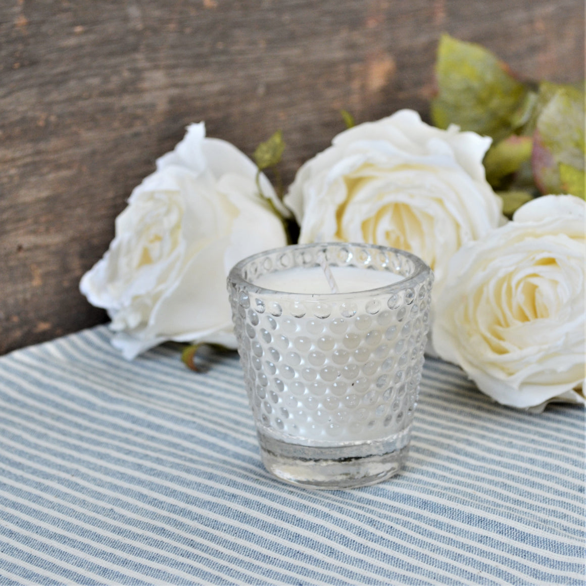 Clear Glass Hobnail Candle