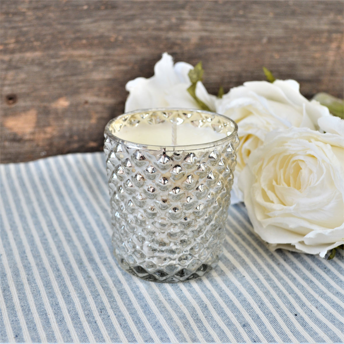 Diamond Quilted Silver Mercury Glass Candle