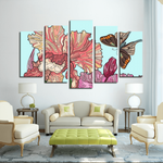Serene Butterfly(5 Panels Canvas Print)