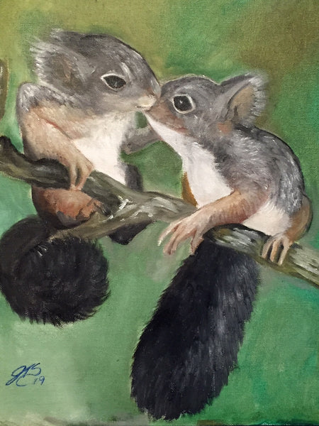 I love you Squirrels(Original Oil painting)