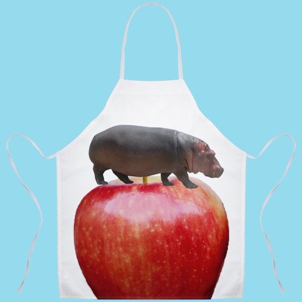 Aprons(Hippo on Apple) - JenniPaintings-FoundTreasures