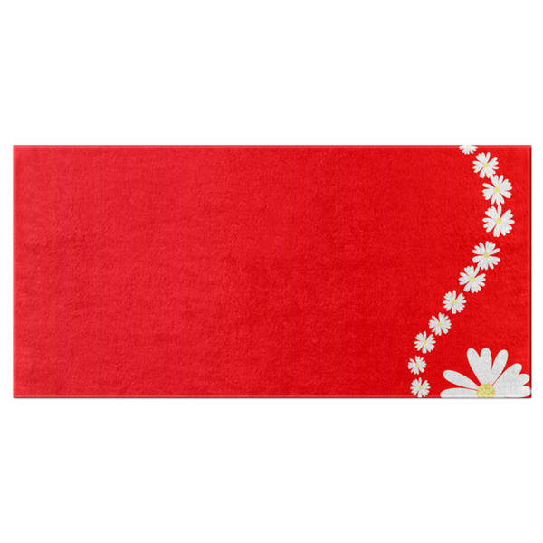 Bath Towel(Red with White Daisy) - JenniPaintings-FoundTreasures
