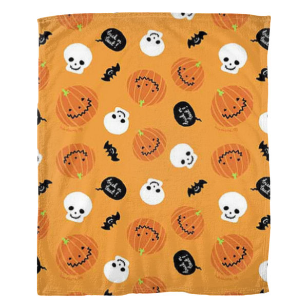 (Pumpkin Surprise)Fleece Blankets - JenniPaintings-FoundTreasures