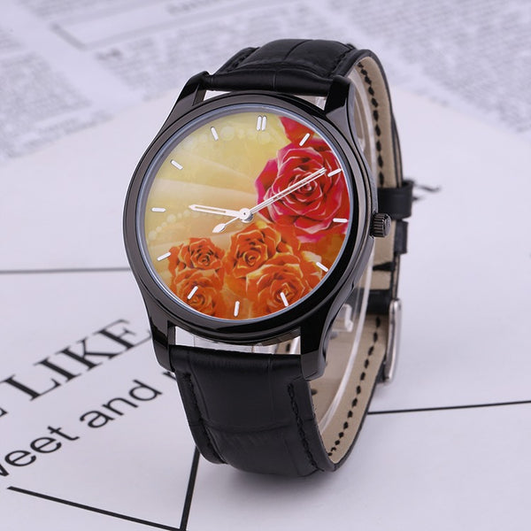 Roses(Watch With Black Genuine Leather Band)